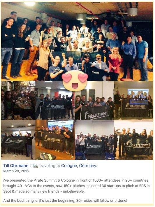 Till Ohrman Facebook Post about PIRATE Summit trip through Europe - Entrepreneur Scholarship